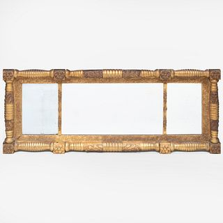 Classical Giltwood Three Part Overmantle Mirror
