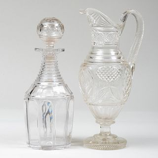 Cut Glass Decanter and Stopper and a Cut Glass Ewer