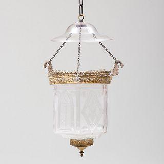 Neo-Gothic Gilt-Metal-Mounted Cut Glass Hall Lantern