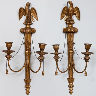 Pair of Federal Style Giltwood Eagle Form Two-Light Sconces