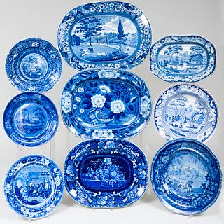 Group of English Transferware Platters and Plates