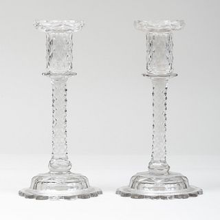 Pair of George III Cut Glass Candlesticks