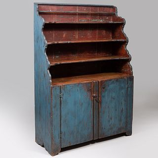 American Blue Painted Pine Waterfall Cupboard