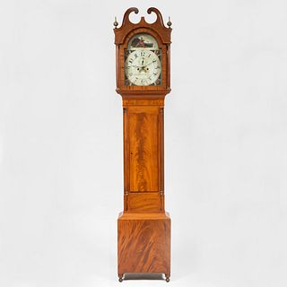 Federal Mahogany Tall Case Clock, Dial signed Aaron Brokaw, Rahway