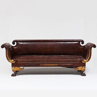 Classical Carved Mahogany and Parcel-Gilt Sofa