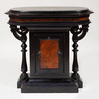 American Renaissance Revival Ebonized and Figured Maple Pedestal