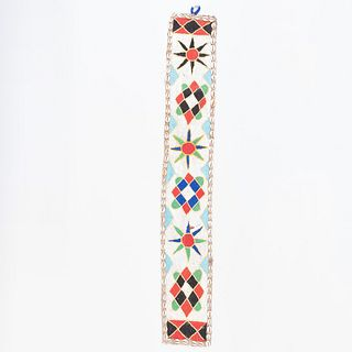 Native American Beadwork, Cowrie Shell and Trade Cloth Banner