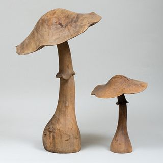 Two Carved Wooden Mushrooms