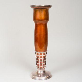 Large Gorham Silver Mounted Mixed Metal Vase