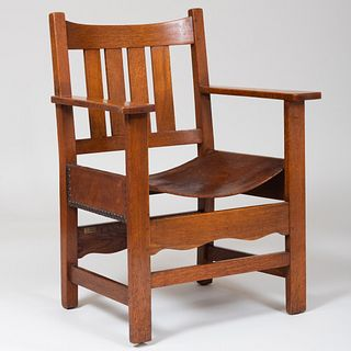 L & J.G. Stickley Oak and Leather Armchair