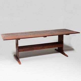 Continental Comb Painted and Stained Oak Trestle Table