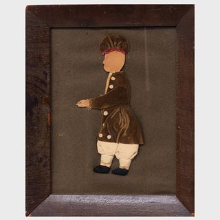Folk Art Paper and Fabric Collage of a Marching Figure