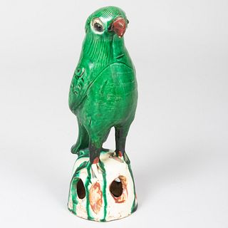 Chinese Export Green Glazed Porcelain Model of a Parrot