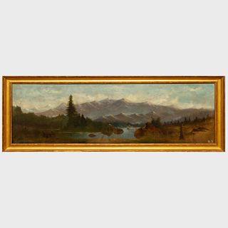 C. Kenney: Lake Scene in Mountains, Cabin in Fog