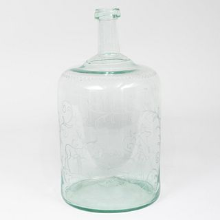 Continental Brown Glass Engraved Demijohn