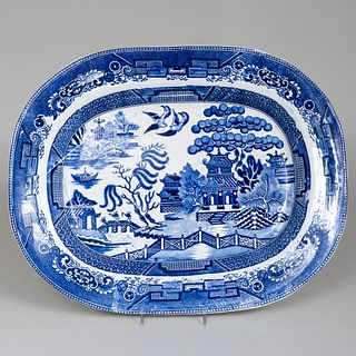 Large English Blue and White Platter in the 'Blue Willow' Pattern