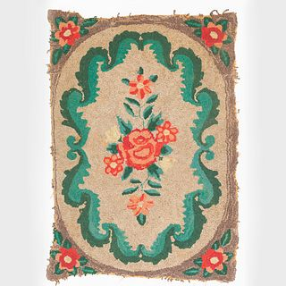 Floral Hooked Rug and a Geometric Mat