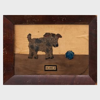 Group of Three Folk Art Fabric Collage Pictures of Cats and a Dog