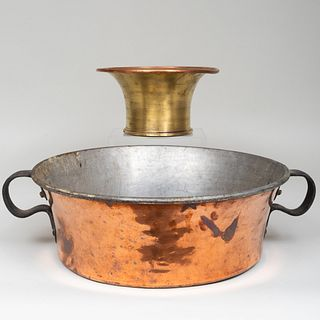 Continental Gilt Bronze Mortar with Copper Two Handle Basin, Possibly French