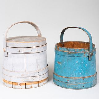 Two Painted Wood Firkins