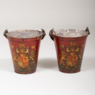 Pair of English Red and Polychrome Decorated Armorial Tôle Fire Buckets with Leather Handles