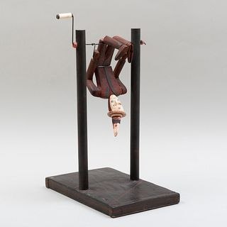 American Folk Art Painted Wood and Bone Figure of an Acrobat on Stand, New York