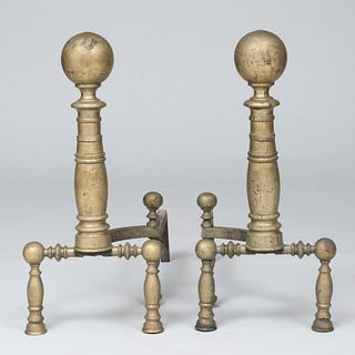 Pair of Brass Left and Right Ball Top Andirons