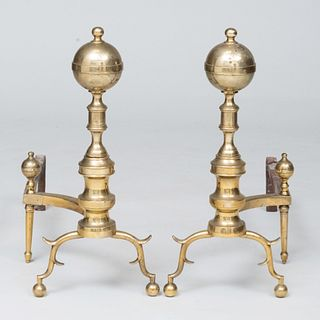 Pair of Federal Style Brass Left and Right Ball Top Andirons On Spurred Legs Ending in Ball Feet