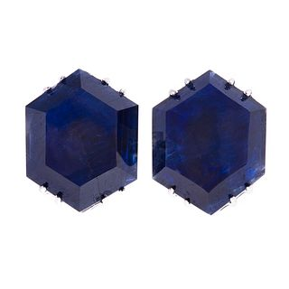 A Pair of Unheated Burma Sapphire Earrings in 18K