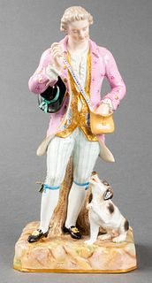 Meissen Gentleman Training Dog Porcelain Sculpture