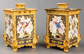 Paint Decorated Porcelain Potpourri Boxes, Pr
