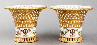 Sèvres Reticulated Porcelain Centerpieces, Pair