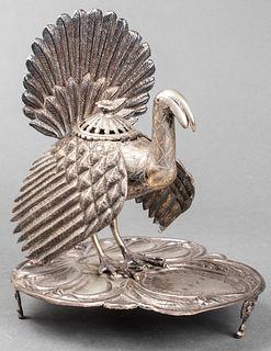 South American Silver Turkey Incense Burner