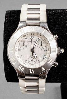 Cartier Chronoscaph Stainless Steel & Rubber Watch