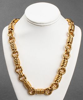 18K Italian Yellow Gold Large Link Necklace