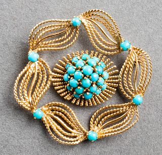 Vintage 14K Yellow Gold & Turquoise Pin / Brooch