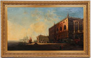 """George Loring Brown """"Venice"""" 19th C. Oil on Canvas"""
