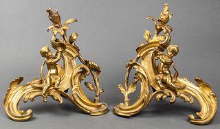 Louis XV Style Gilt Bronze Figural Chenets, Pair