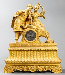 Chinoiserie Figural Gilt Bronze Mantle Clock