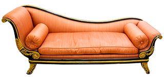 Empire Parcel Gilt Ebonized Recamier Sofa