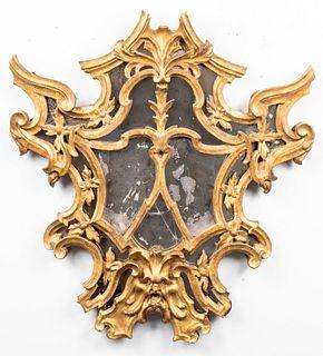 18th C. Continental Baroque Giltwood Mirror