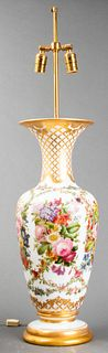 Sèvres Style Painted White Glass Lamp
