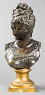 Neoclassical Bronze Bust of a Woman, 19th C.