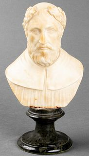 Neoclassical Carved Alabaster Bust Sculpture