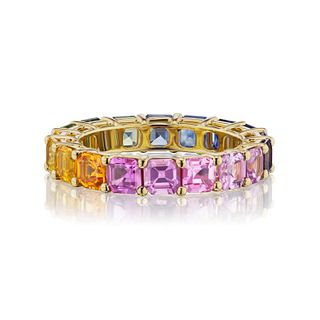 5.54CT NATURAL FANCY COLOR SAPPHIRE ETERNITY BAND