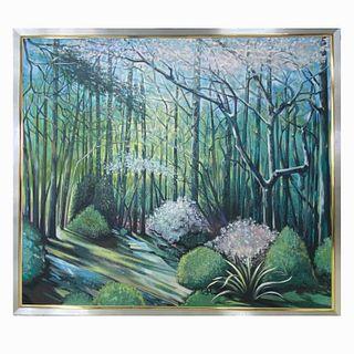 Lowell Nesbitt (1933-1993 American) Oil on Canvas.