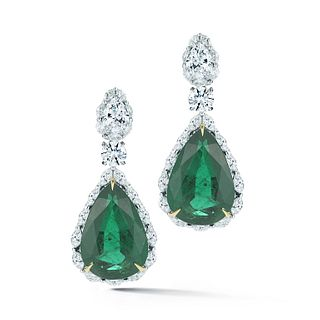 36.51CT PEAR EMERALD AND DIAMOND EARRING