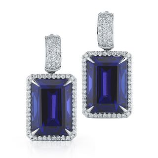 37.34CT OCTAGON TANZANITE AND DIAMOND EARRING