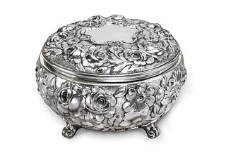 Galmer Sterling Silver Footed Box with Roses