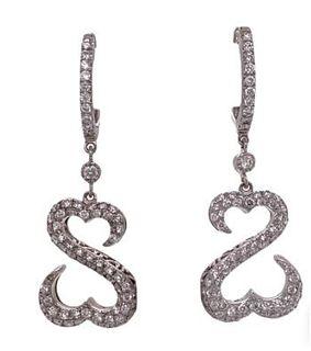 Diamond Platinum Open Heart Dangle Earrings